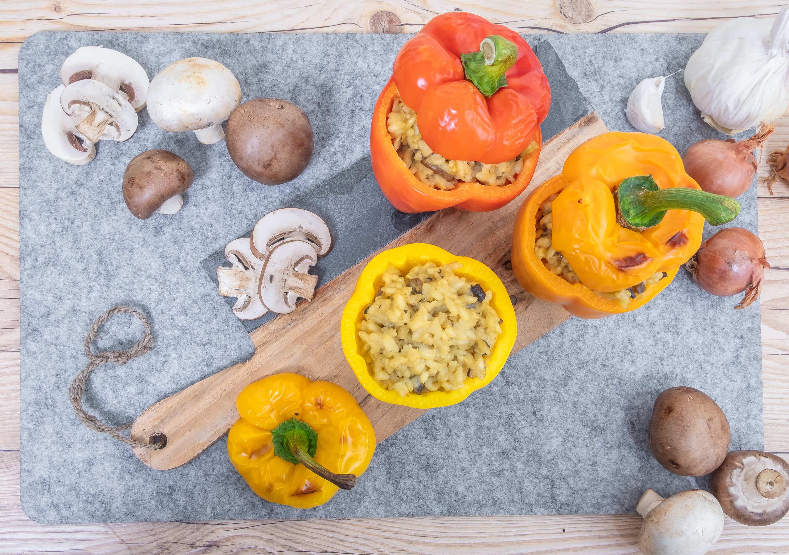 Creamy mushroom risotto pepper