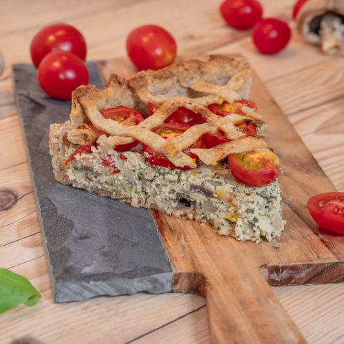 Savory tofu pie with tomatoes