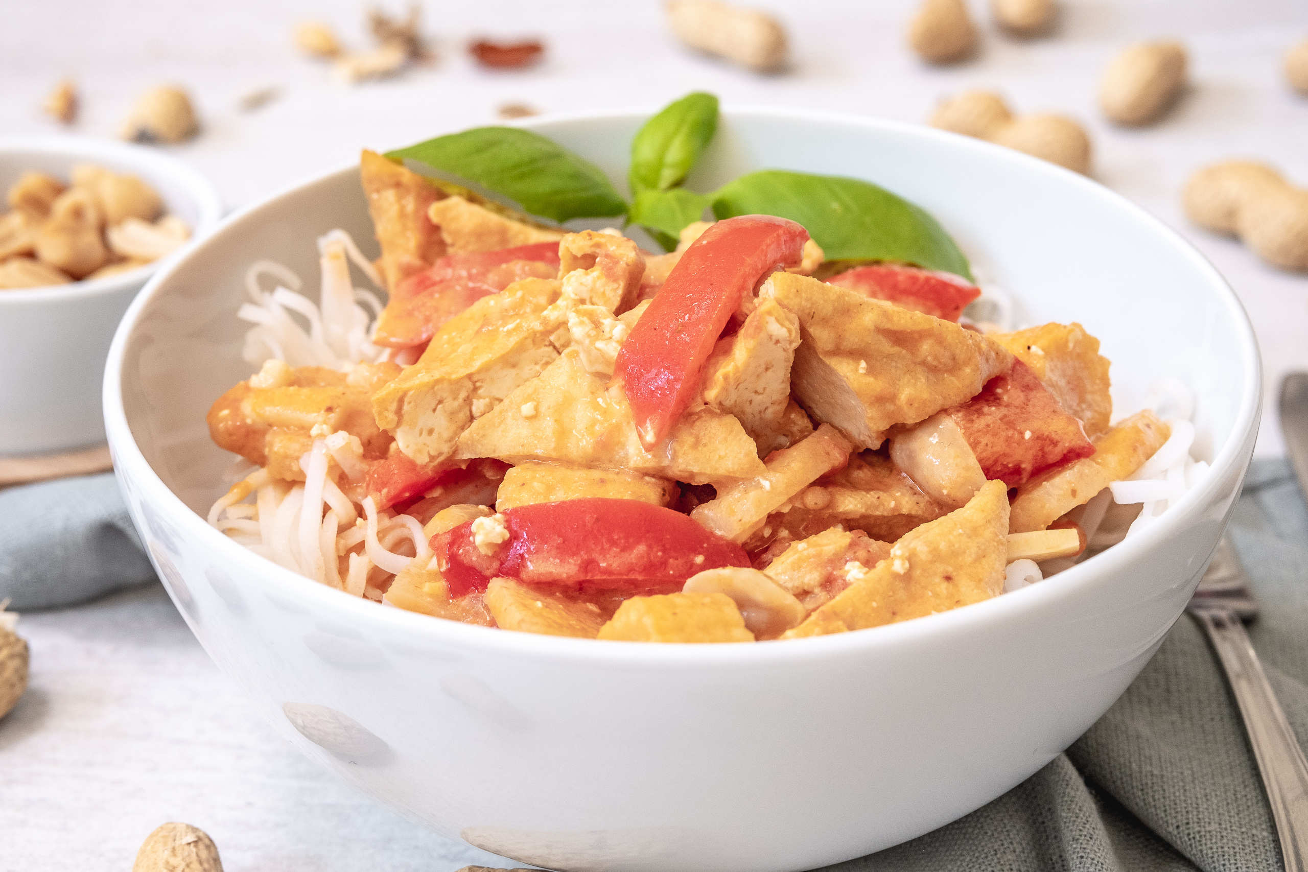 Thai stew with fried tofu, coconut milk and peanut butter