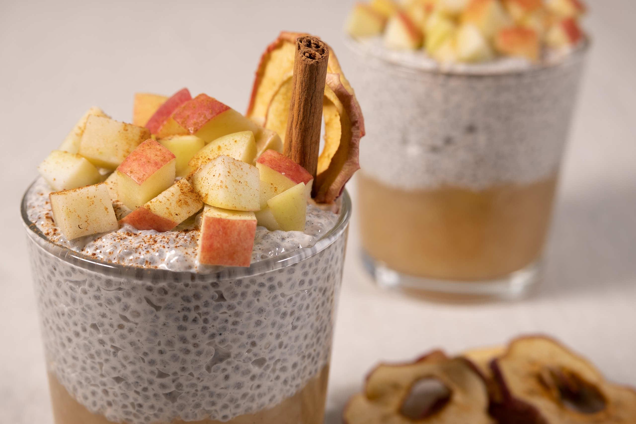 Vegan chia pudding with apple and cinnamon