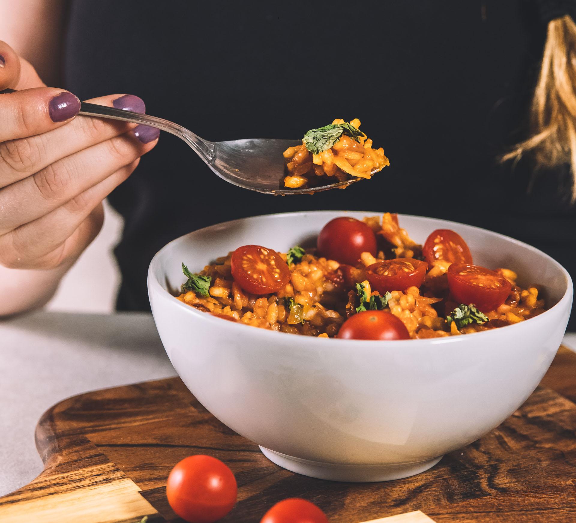 Vegansk risotto tomatrisotto
