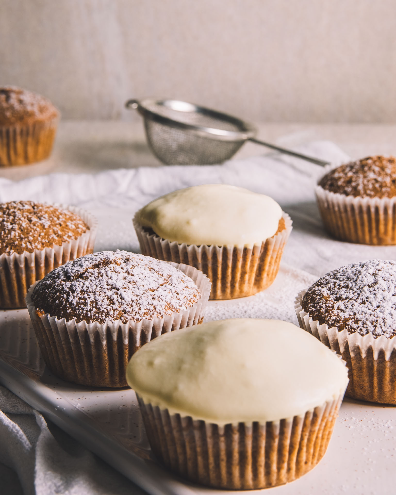 Vegan gingerbread cupcakes muffin with cream cheese frosting
