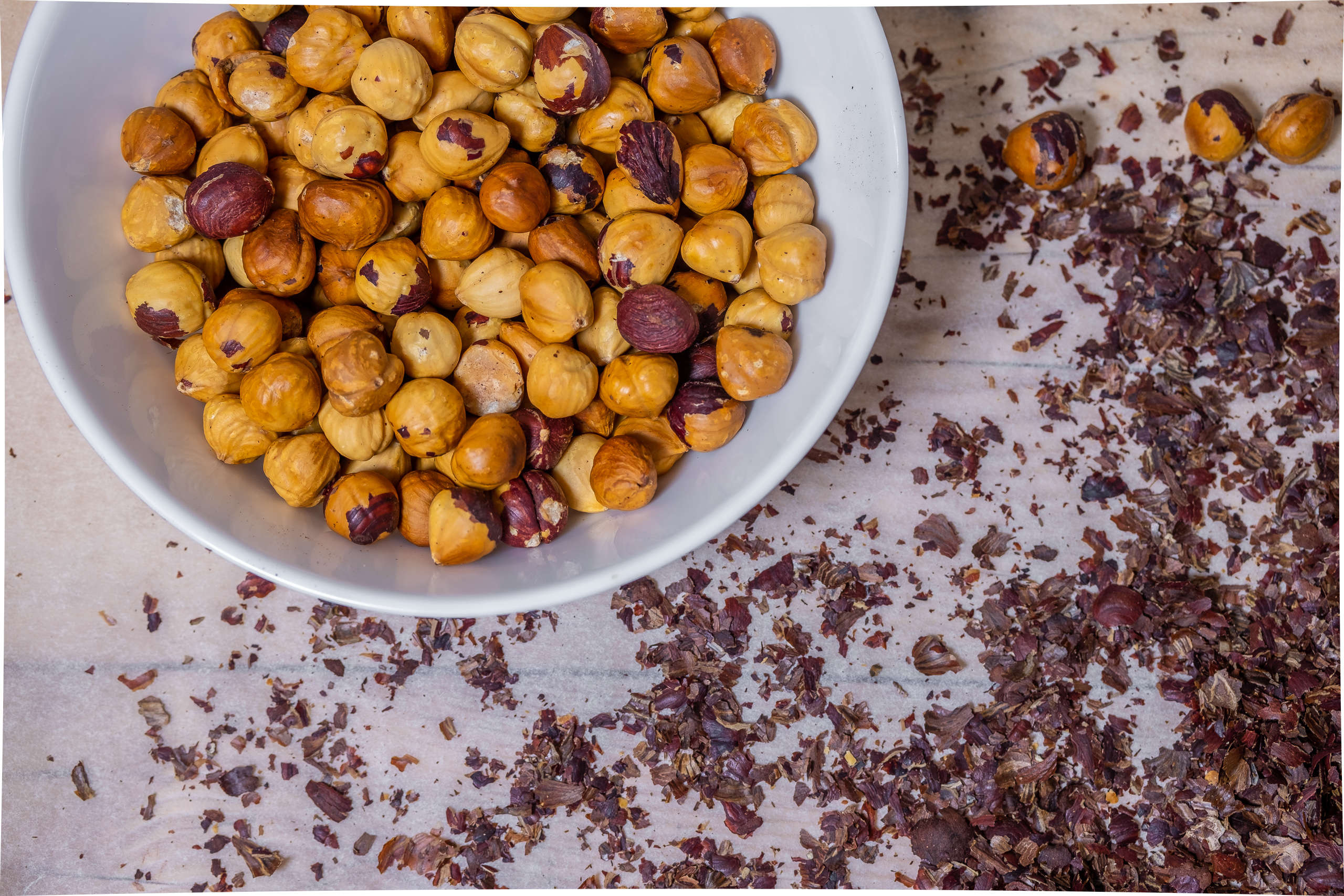 Roasted, pealed hazelnuts