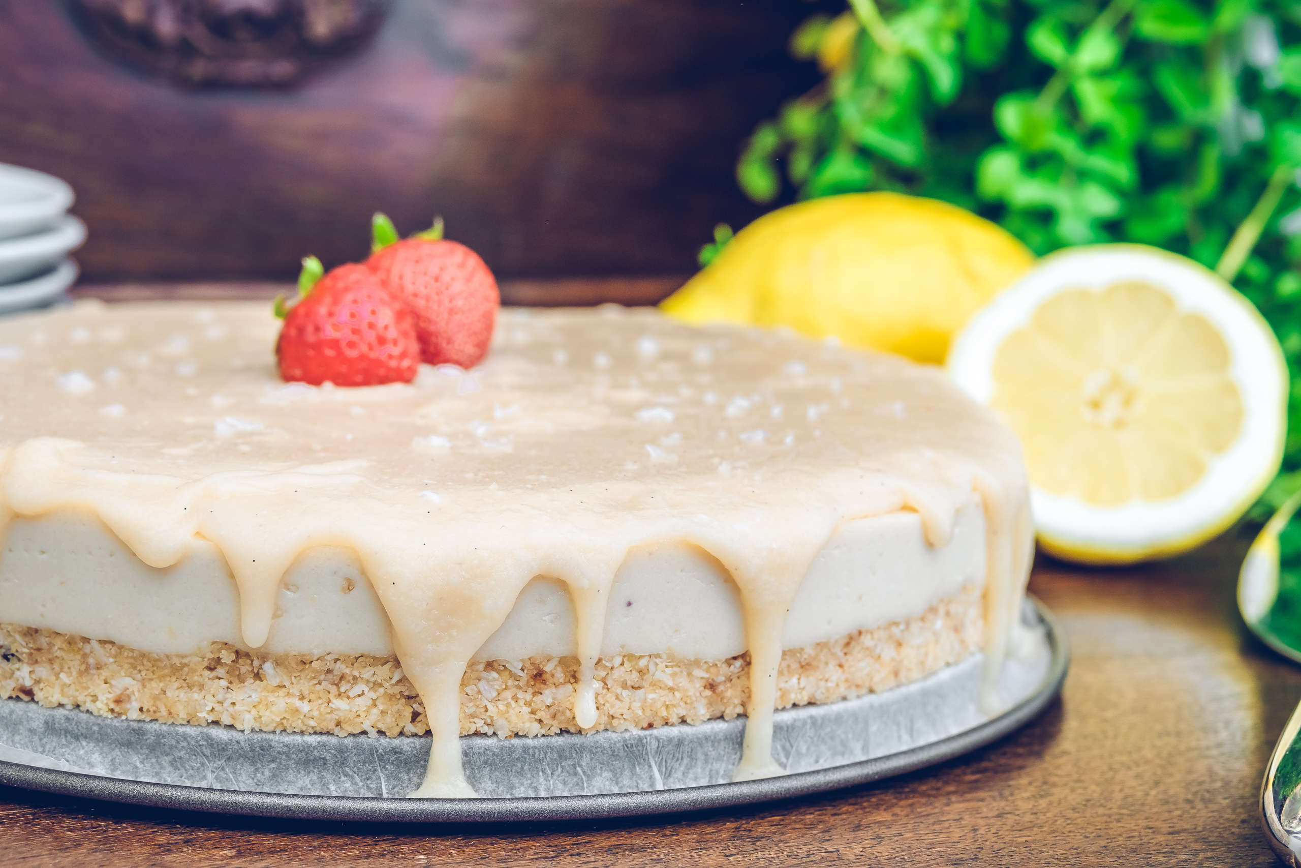 Raw vegan coconut caramel cheesecake