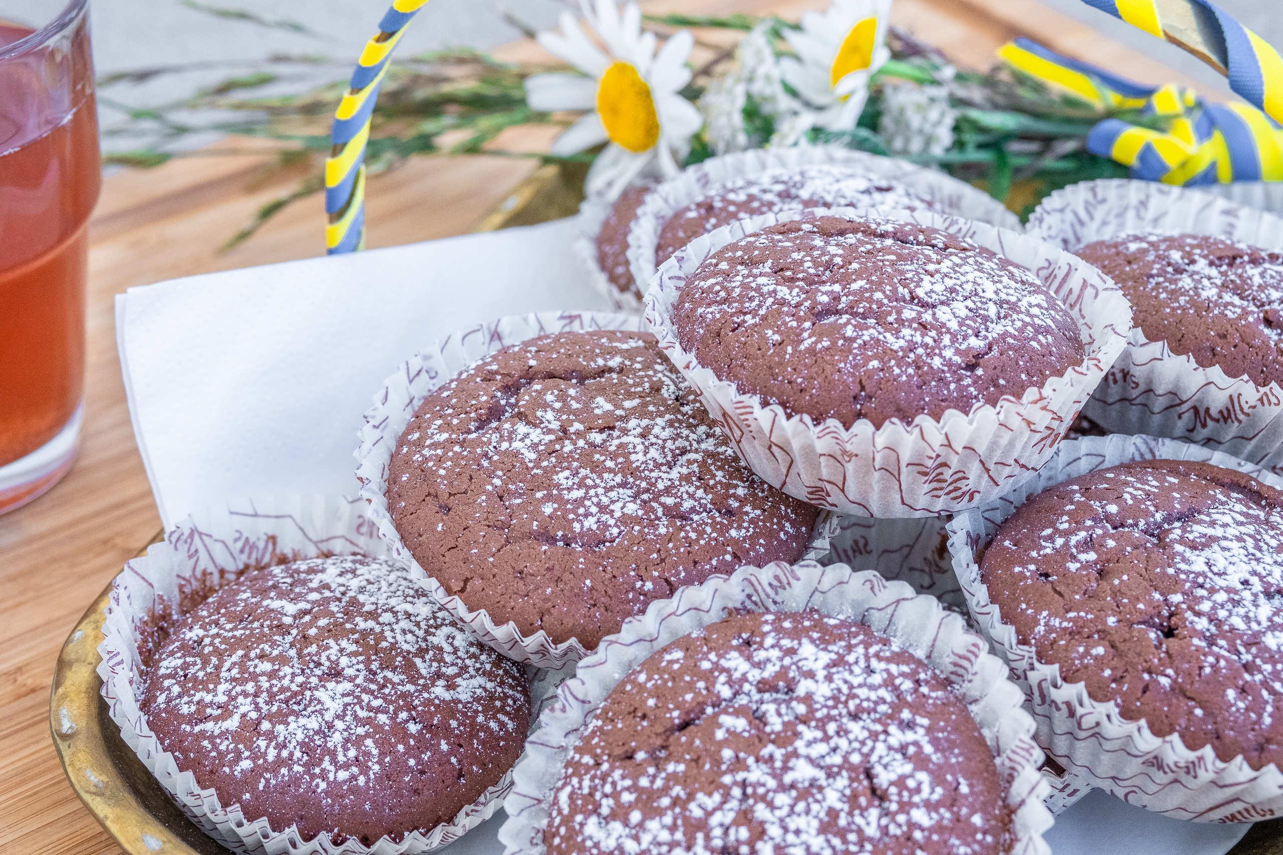 Fluffiga veganska muffins choklad chokladmuffins