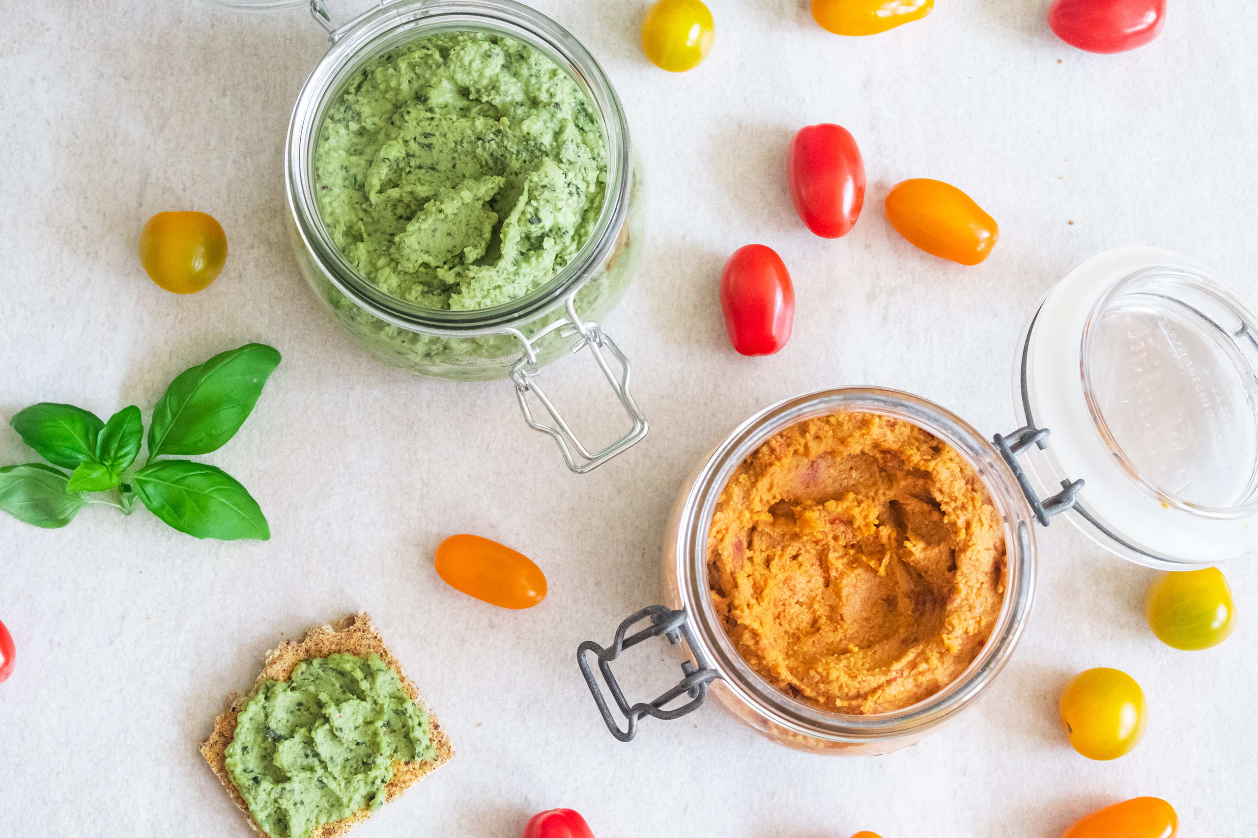 Hummus with basil or sun drier tomatoes
