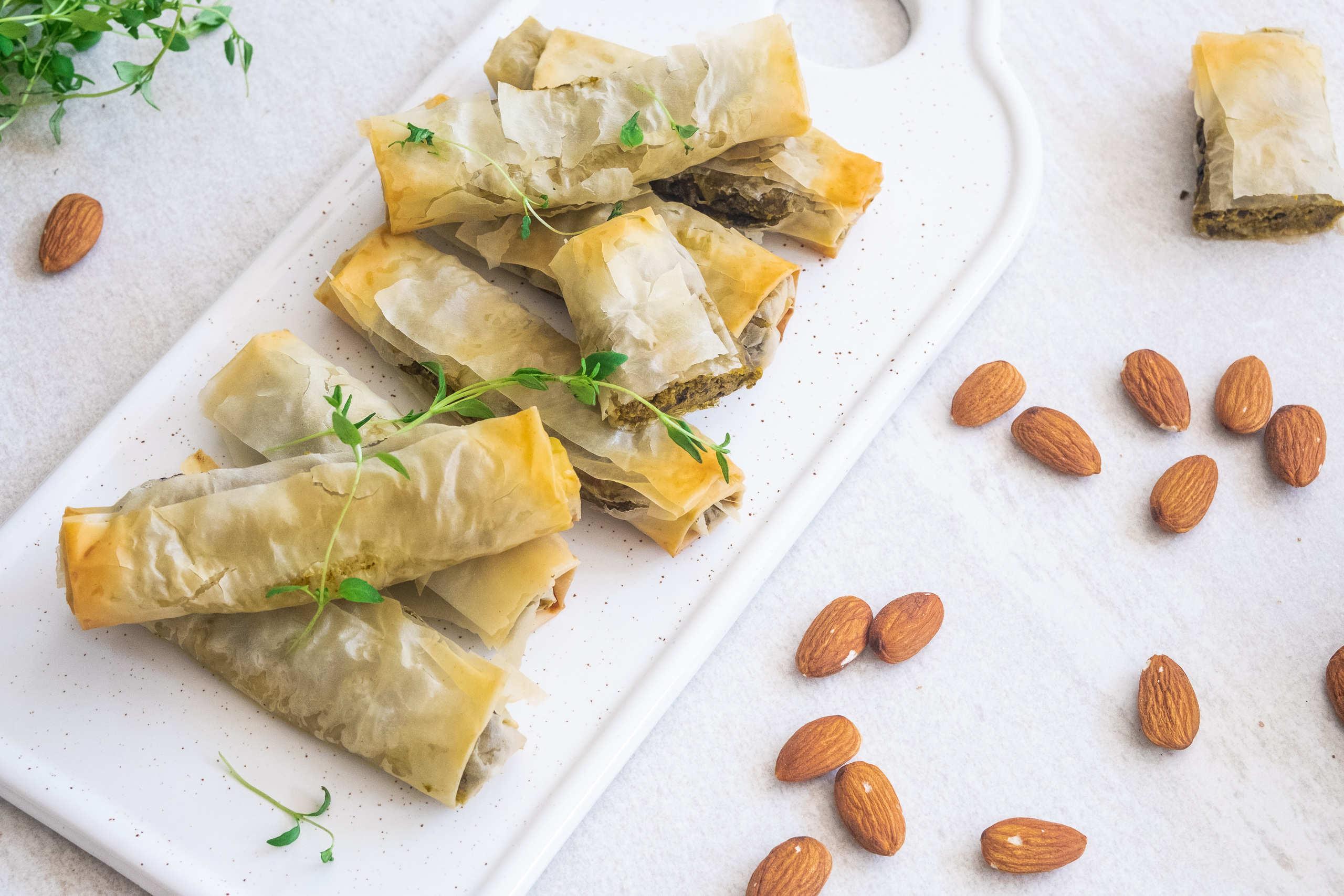Vegansk filodegspaj med spenat och sötpotatisfyllning
