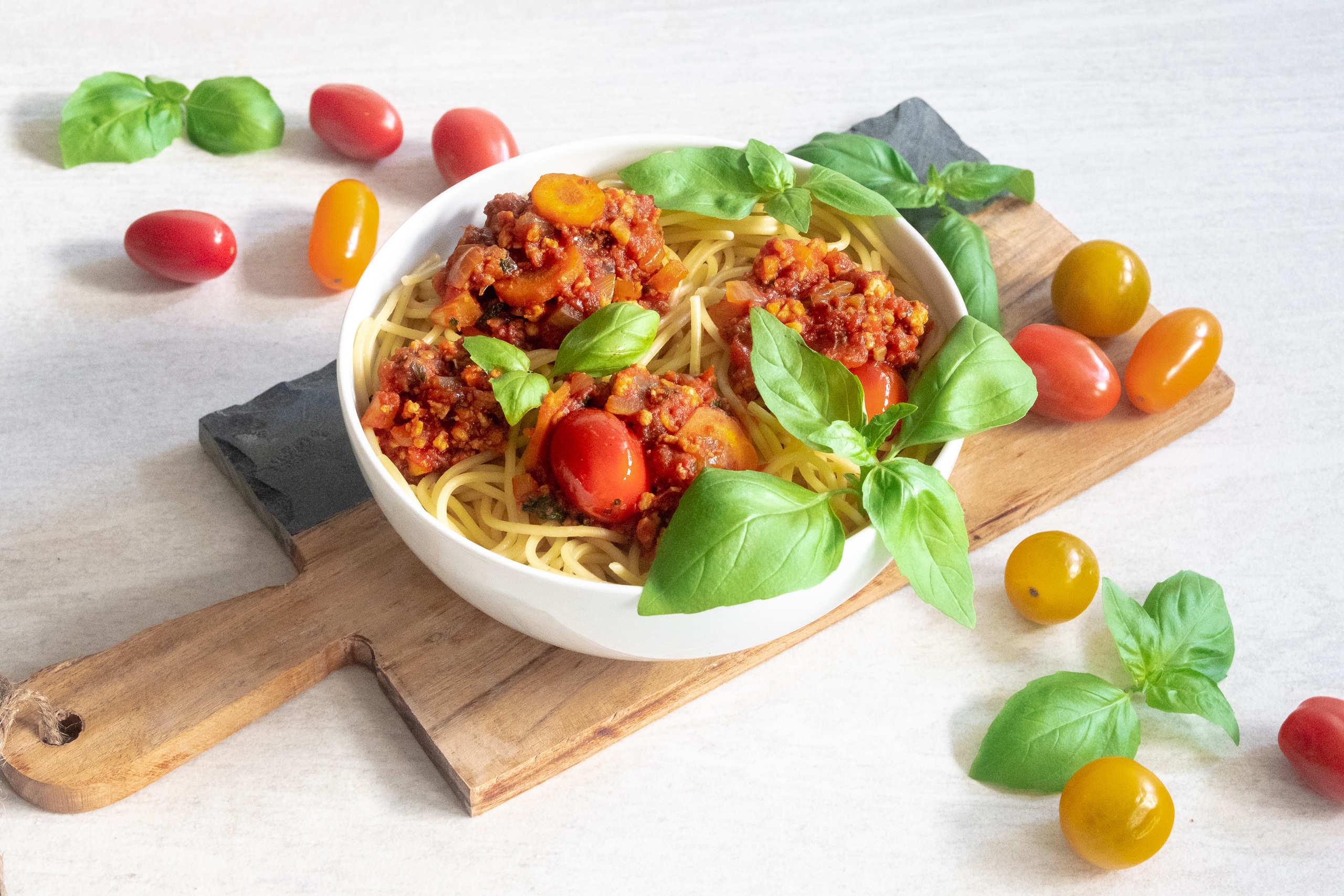 vegansk pasta bolognese med tofu
