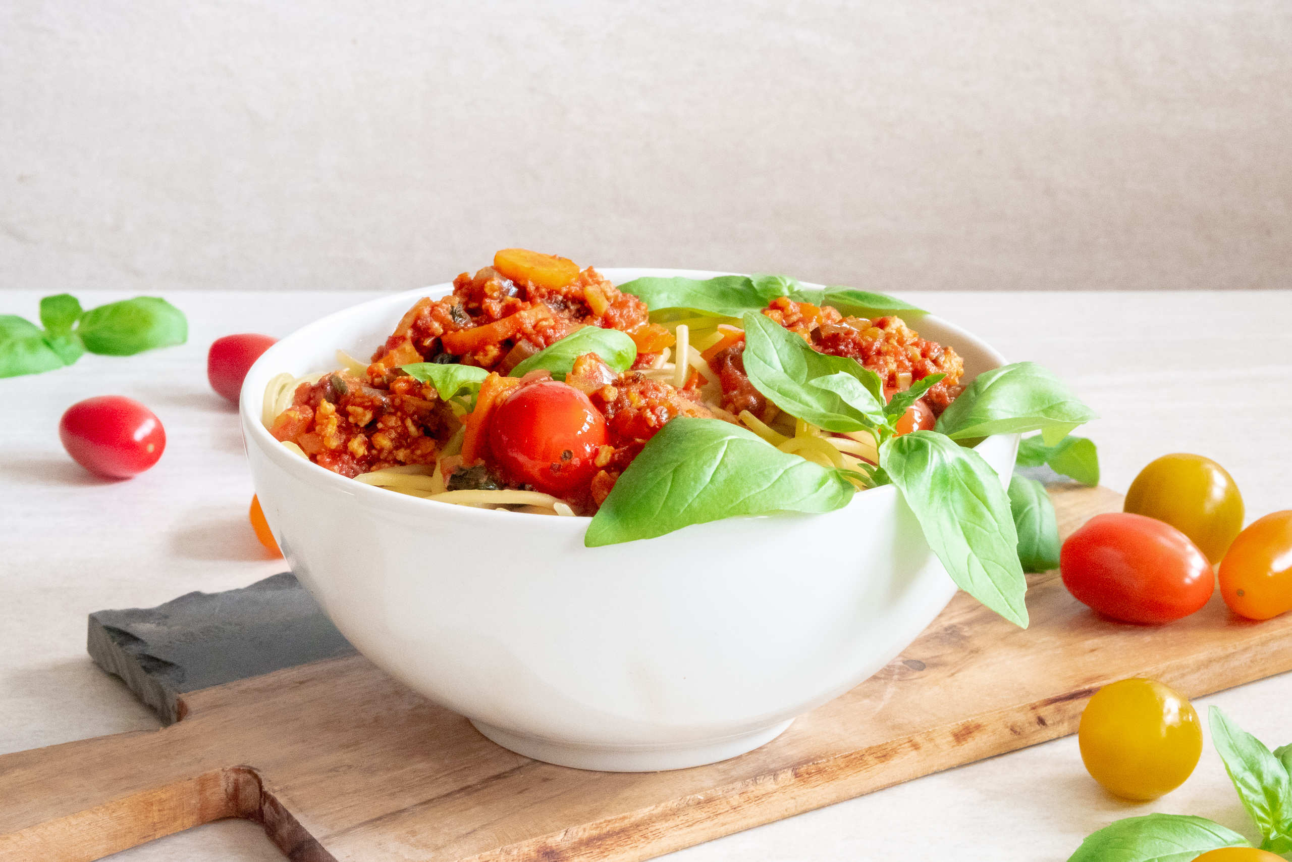Vegan bolognese with tofu