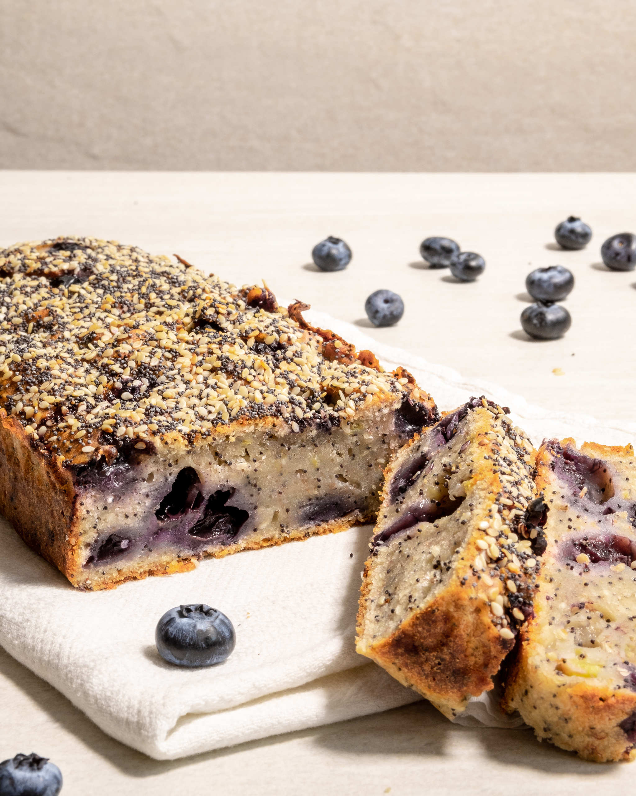 Sweet banana bread with blueberries