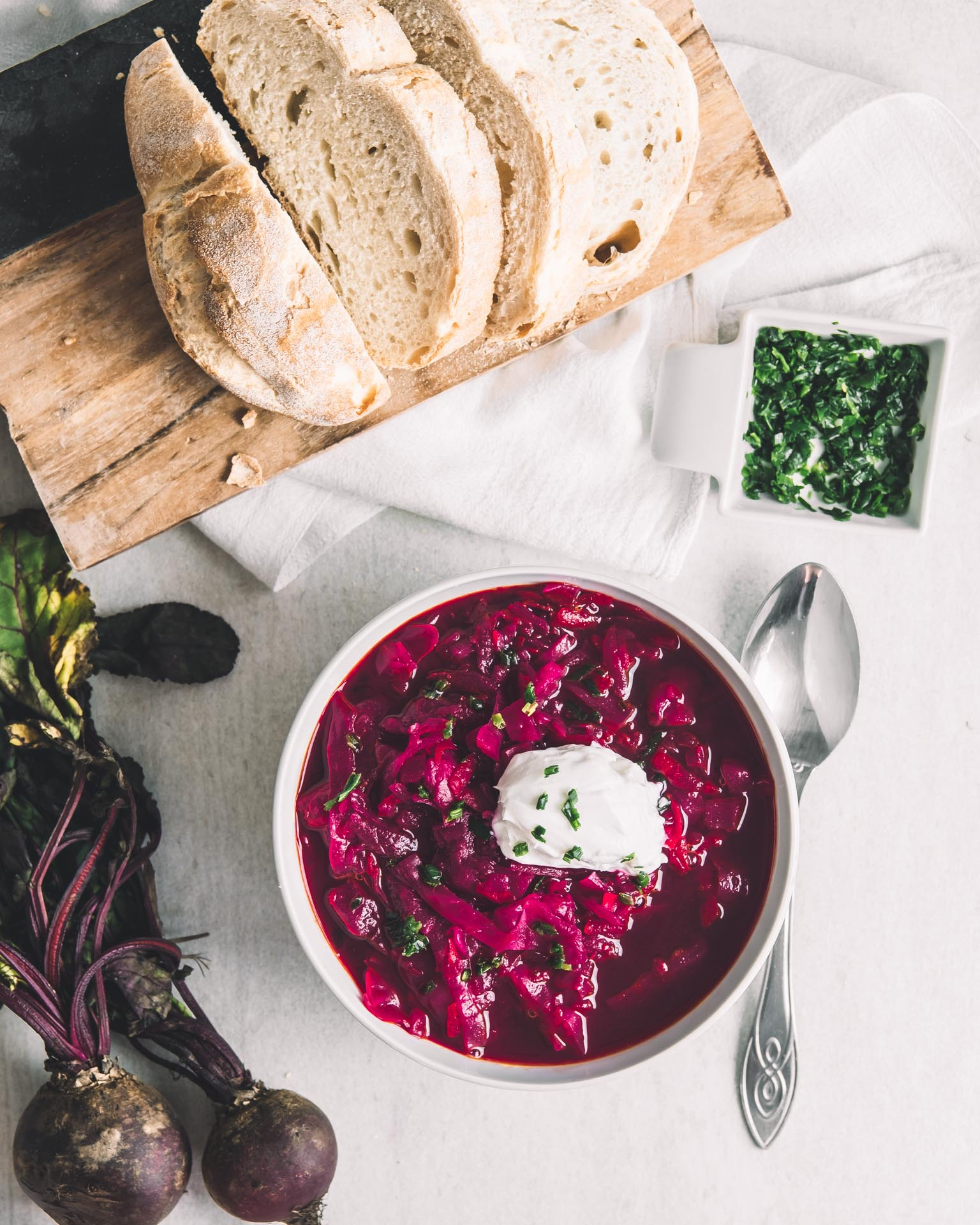 Vegan borscht beetroot soup