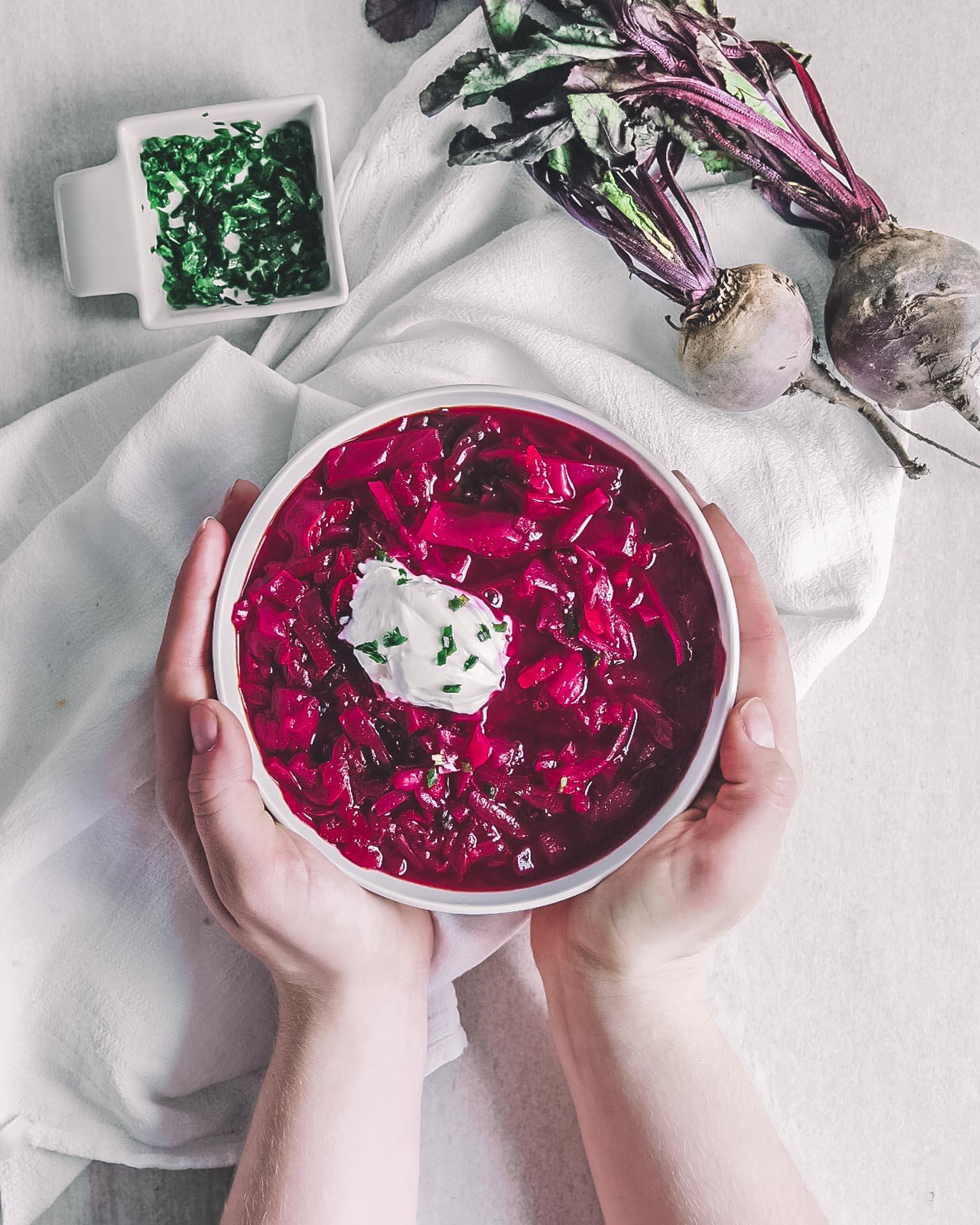 Vegansk borscht soppa rödbetor