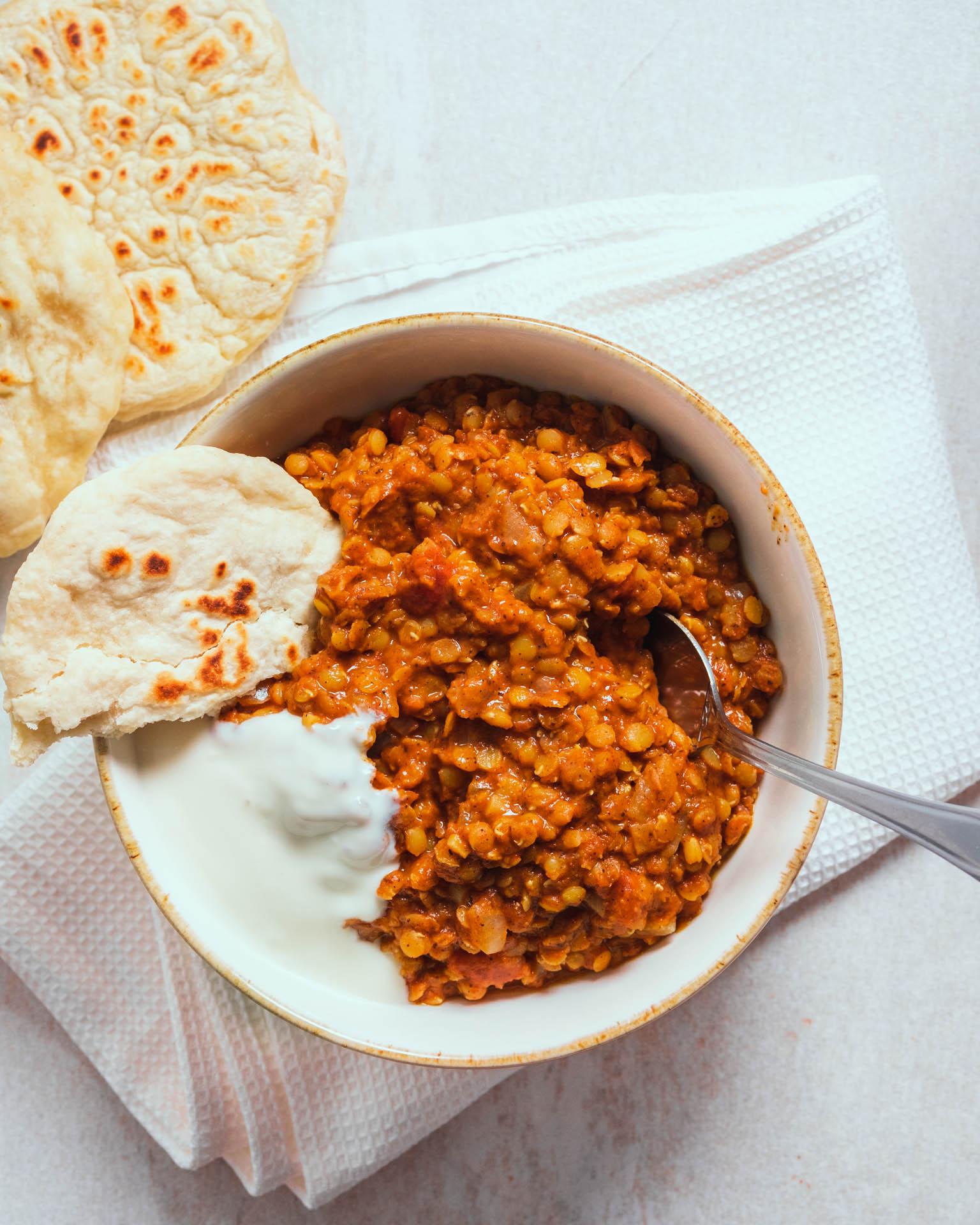 Indisk gryga röda linser kokosmjölk tomat vegansk vegan recept