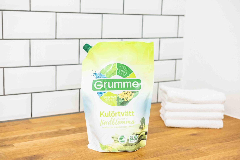 Veganska miljövänligt tvättmedel test grumme